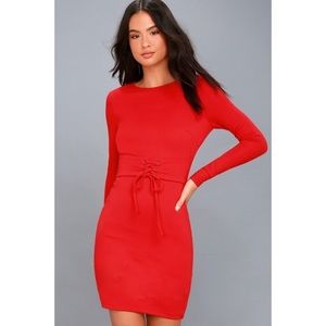 NWT Lulu's Hearts Aflame Lace Up Bodycon Dress.